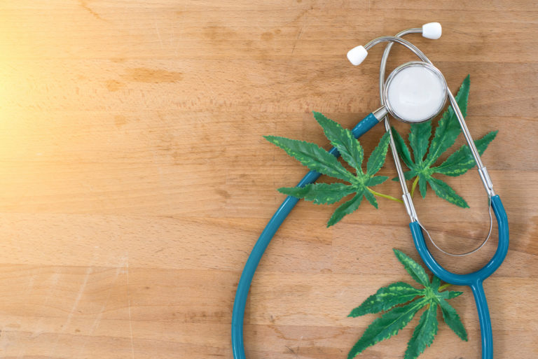 stethoscope marijuana leaves