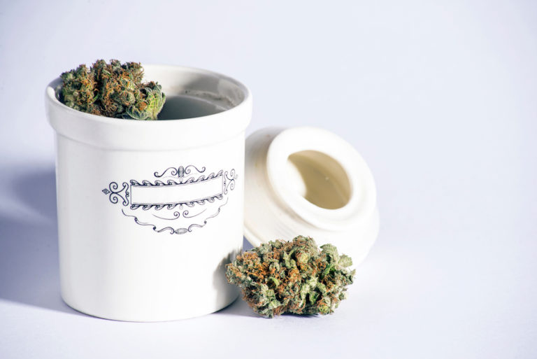 jar filled with cannabis