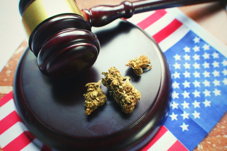 gavel, weed, US Flag