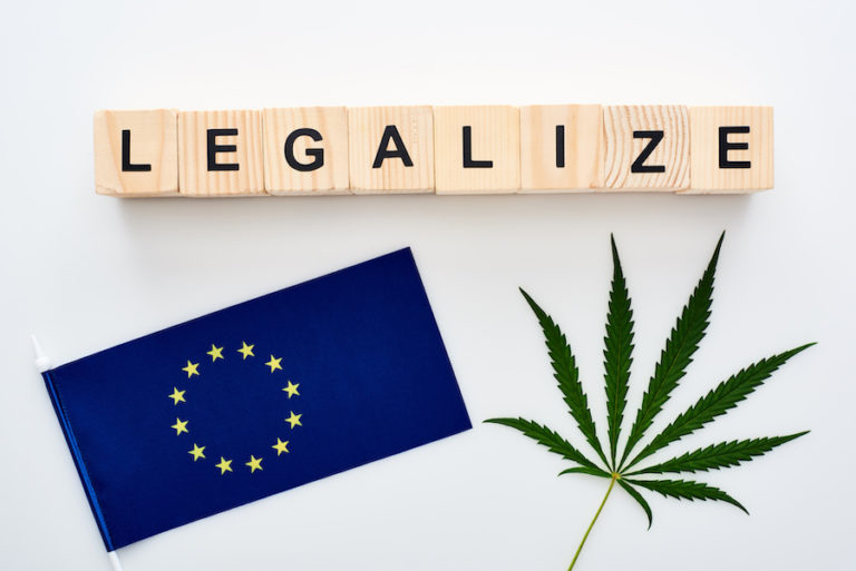 flag of europe and weed